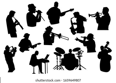 Set black silhouettes of musicians isolated on white background. Jazz, rock or pop band musicians playing instruments. Collection of singer and musician people in different poses. Stock vector