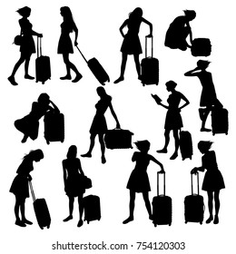 Set of black silhouettes travelers with suitcases on white background. Slim girl in a lush skirt with luggage.