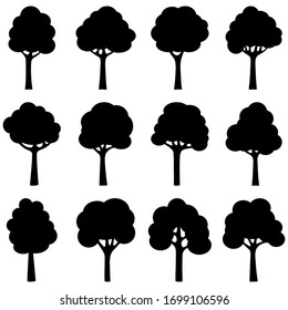 Set of black silhouettes of trees, vector illustration