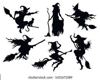 Set of black silhouettes of witches flying on a broomstick. A collection of silhouettes for Halloween. Mystical illustration. Vector outline of a witch.