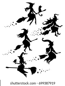 A set of black silhouettes of witches flying on a broomstick. A collection of silhouettes for Halloween. Mystical illustration. Vector outline of a witch.