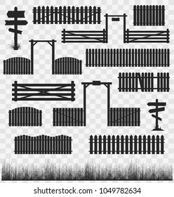 Set of black silhouettes of wooden fences with gates and guideposts. Vector collection of illustrations isolated on transparent background.