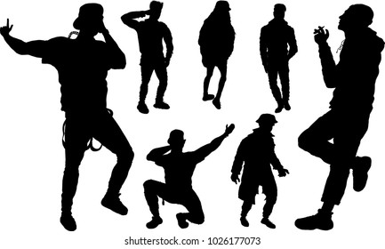 Set of black silhouettes of young hype people. Isolated.