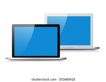 Set of black and silver flat laptop with blue screen