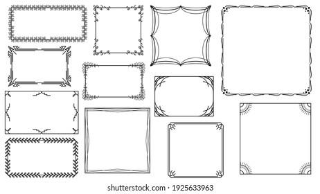 Set Black Simple Line Frame Collection Doodle Square Floral Frame Elements Vector Design Style Sketch Isolated Illustration For Banner
