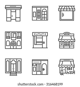 Set of black simple line style vector icons for storefronts and showcase. Commercial architecture, store and shop, cafe and restaurant. Elements of web design for business and site.