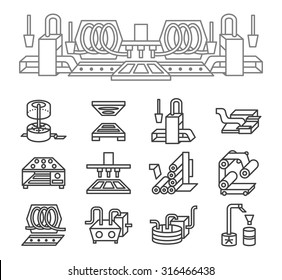 Set of black simple line vector icons for food production. Machinery, preparing and food packaging. Design elements for business and website