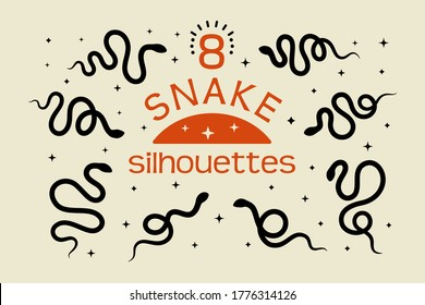 A set of Black snake silhouettes in a simple minimalistic style. Vector isolated illustration on a white background. The icon of the serpent to create logos, patterns, posters, prints on t-shirts