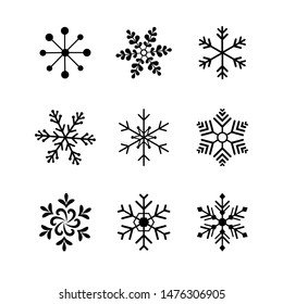 Set of black snowflakes icons different style. Design element for decoration Christmas card. Vector illustration.