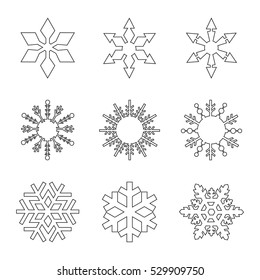 Set of black snowflakes line art  icons on white background vector illustration