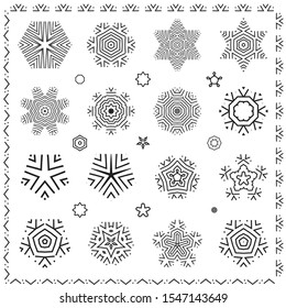 Set of black snowflakes vector icon silhouettes isolated on white background. Snow element collection with ethnic ornament lines for Christmas seamless design