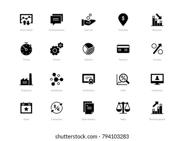 Set of black solid business icons isolated on light background. Contains such icons Production, Certification, Process, Event, Profit and more.