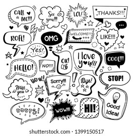 Set of black speech bubbles with different words in doodle style for communication in social media. Isolated vector illustration.