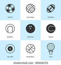 Set of black sports icons. Vector sport equipment in flat simple style.