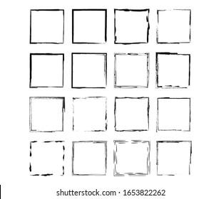 Set of black square grunge frames. Geometric empty borders collection. Vector illustration.