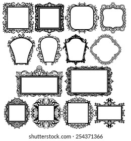 set of black square vintage frames, design elements