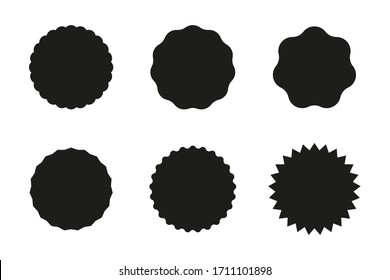 Set of black starburst badges icon. Sunburst stickers for price, promo, quality, sale tags. Vector illustration.