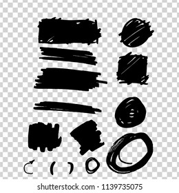 set of black strokes with a marker, scribble, chaotic lines, circles, abstract lines, a painted square, a shaded circle on a transparent background