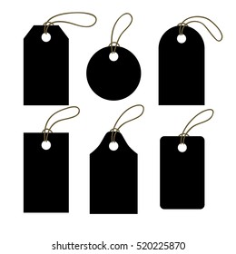 Set of black tags. Sale promotion and gift card in different shapes. Vector illustration