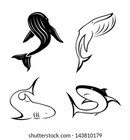 set of black tattoo in the shape of sharks, killer whales and sperm whales on a white background