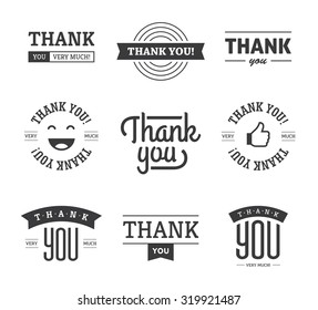Set of black thank you text designs with ribbons, happy face and thumb up icon. Can be used for labels, emblems, stickers, tags, card, etc. Isolated on white background