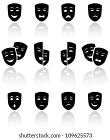 Set of black Theatrical masks on white background, illustration