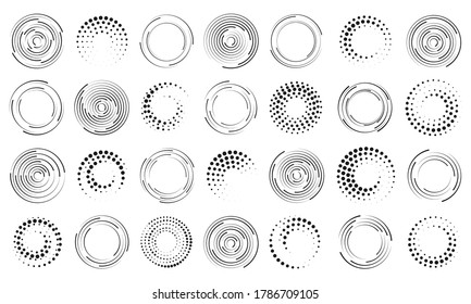 Set of black thick halftone dotted speed lines. Speed lines in circle form. Geometric art. Design element for frame, logo, tattoo, web pages, prints, posters, template, abstract vector background.