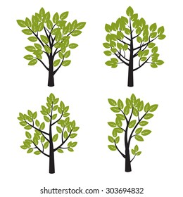 Set of Black Tree and Green Leafs. Vector Illustration.