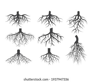 Set of Black Tree Roots. Roots Icon, Vector outline Illustration. Plant and Garden