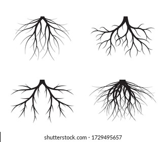 Set of Black Tree Roots. Vector outline Illustration. Plant and Garden.