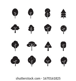 set of black tree vector in geometric flat icons style for decorative graphic element