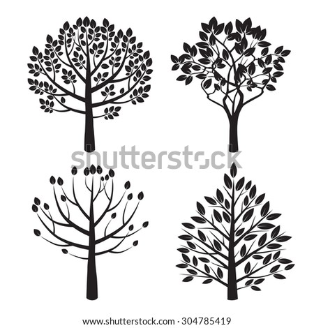 Set Black Tree Vector Illustration Stockvector Rechtenvrij