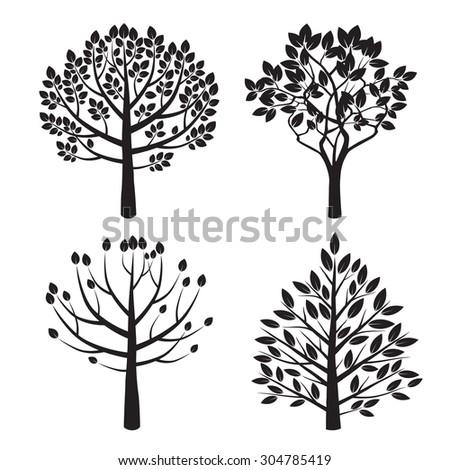 Set Black Tree Vector Illustration Stockvector Rechtenvrij