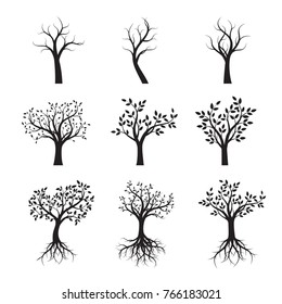 Set of Black Trees with Leaves and Roots. Vector Illustration.