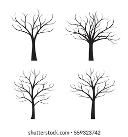 Set Black Trees without Leafs. Vector Illustration.