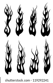 Set of black tribal flames for tattoo or another design, such a logo template. Jpeg version also available in gallery