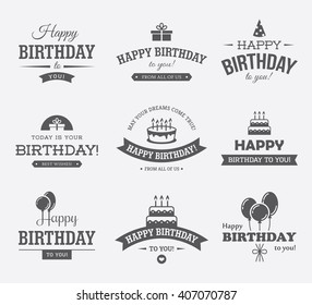 Set of black typographic Birthday labels with cake, gift box, balloons and hat icons and symbols. Can be used for Birthday card, banner or poster design