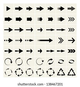 set of black universal arrows. vector eps8
