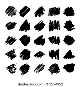 Set of black vector abstract hand-painted brush strokes. Black ink elements. Grunge backgrounds for banners.