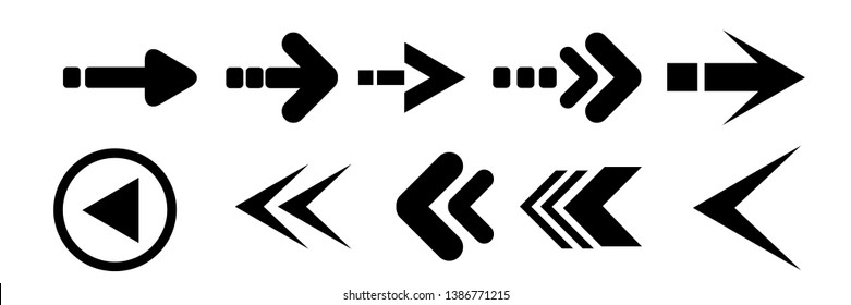 Set of black vector arrows. Arrow icons