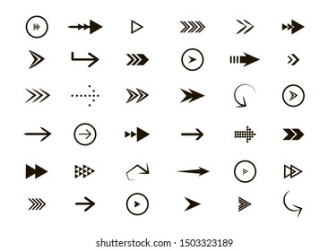 Set of black vector arrows. Arrow icon. Collection of concept arrows for web design, mobile apps, interface and more.