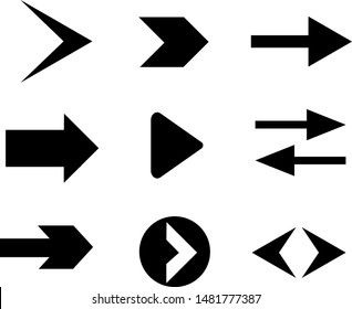 Set of black vector arrows. Vector collection with elegant style and black color.