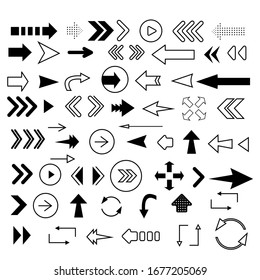 Set of black vector arrows. Arrows icon. Arrow vector icon. Vector illustration EPS10
