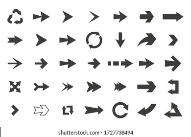 set of black vector arrows icons arrows isolated on white background.