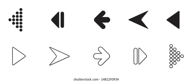 Set of black vector arrows isolated on white. Arrow icon. Arrow vector icon. Arrow. Arrows vector illustration