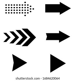 Set of black vector arrows on isolated background. Collection of modern arrow icons. Vector arrows for web, mobile app. Arrows for navigation menu. Cursor, arrow icon. Modern simple arrows. eps10.