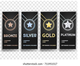 Set of black vector banners with Gold , Platinum ,Silver and Bronze stars, medal, achievement