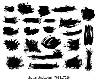 Set of black vector bushy brush strokes on white background. Painted grunge stripes and blobs