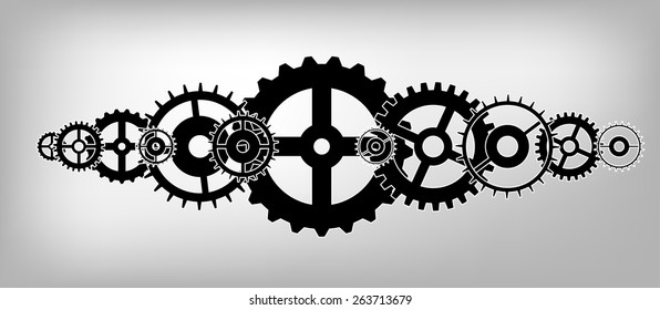 A set of black vector gears on a grey soft background.