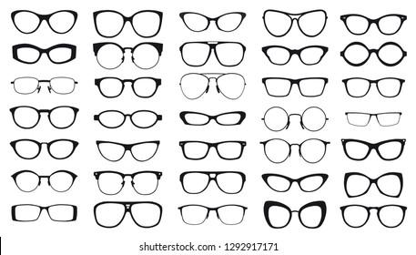 set of black vector glasses on white background